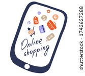 online shopping on tablet and... | Shutterstock .eps vector #1742627288