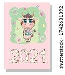 calendar 2021. cute bull and...   Shutterstock .eps vector #1742631392