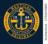 classic vintage yacht racing... | Shutterstock .eps vector #1742645885