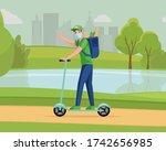 man in medical mask riding...   Shutterstock .eps vector #1742656985