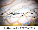 Mendota. Virginia. USA on a geography map