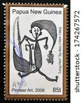Small photo of PAPUA NEW GUINEA - CIRCA 2008: A stamp printed in Papua dedicated to pioneer art, shows long hair by Akis, circa 2008
