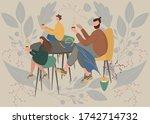 fatherhood portrait lovely man...   Shutterstock .eps vector #1742714732