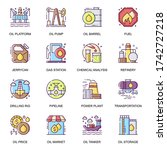 oil industry flat icons set....