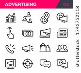advertising line style icon set.... | Shutterstock .eps vector #1742752118