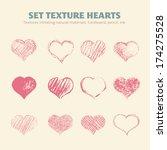set of vector texture hearts.... | Shutterstock .eps vector #174275528