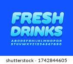 vector blue emblem fresh drinks.... | Shutterstock .eps vector #1742844605