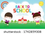 back to school for new normal... | Shutterstock .eps vector #1742859308