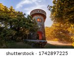Julianus lookout tower in Danube bend Hungary. Near by Nagymaros city. Fantastic view all of Visegrad mountain. This viewpoin built in 1939. It was built by Encyan Tourist Association
