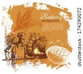 bakery sketch background.... | Shutterstock .eps vector #174290072