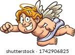 flying cartoon blond cherub... | Shutterstock .eps vector #1742906825