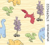 seamless pattern with dinosaurs ... | Shutterstock .eps vector #1742954222