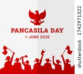 pancasila day background with... | Shutterstock .eps vector #1742971322