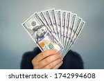 Hands Holding Dollar Cash. 1000 ...