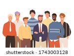 portrait of diverse smiling... | Shutterstock .eps vector #1743003128