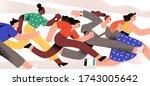 active cartoon woman running... | Shutterstock .eps vector #1743005642