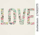 stylish floral card. love word...   Shutterstock .eps vector #174302975