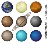 Space set of isolated planets of Solar System - Mercury, Venus, Earth, Mars, Jupiter, Saturn, Uranus, Neptune and Moon. Elements of image furnished by NASA. Eps10, contains transparencies. Vector