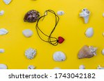 beautiful necklaces are laid... | Shutterstock . vector #1743042182