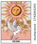 tarot card sun  sunflowers and... | Shutterstock .eps vector #1743043292