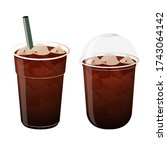 iced coffee americano  2 clear... | Shutterstock .eps vector #1743064142