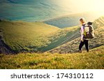 woman traveler with backpack... | Shutterstock . vector #174310112