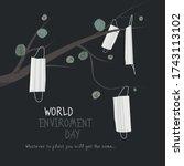 world enviroment day. masks are ... | Shutterstock .eps vector #1743113102