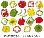 Bell Pepper Set. Hand Drawn Red ...