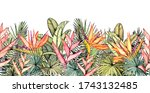 endless horizontal border with... | Shutterstock .eps vector #1743132485