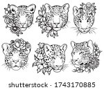 set of leopards with floral... | Shutterstock .eps vector #1743170885