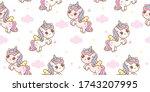 seamless pattern unicorn fairy... | Shutterstock .eps vector #1743207995