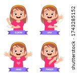 happy cute kid girl study body... | Shutterstock .eps vector #1743285152