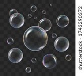 soap transparent bubbles with... | Shutterstock .eps vector #1743290372