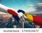 shaking hands japan and chad   Shutterstock . vector #1743314672