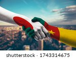 shaking hands japan and cameroon   Shutterstock . vector #1743314675