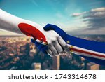 shaking hands japan and cabo...   Shutterstock . vector #1743314678