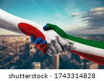 shaking hands japan and...   Shutterstock . vector #1743314828