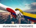 shaking hands japan and colombia   Shutterstock . vector #1743314852