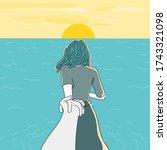 girlfriend and young man run...   Shutterstock .eps vector #1743321098