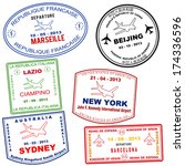 passport grunge stamps from... | Shutterstock .eps vector #174336596