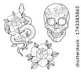 set of three tattoo sketch with ... | Shutterstock .eps vector #1743385865