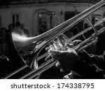 Musician Playing Jazz Trombone...