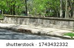 Stone,cement,vintage bridge in Ridgefield, Bergen County New Jersey built in 1927,with creek,brook,stream and waterfalls in the background.