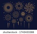 festival gold fireworks explode ... | Shutterstock .eps vector #1743433388