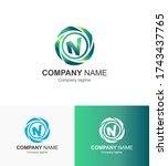 n letter logo design template n ...   Shutterstock . vector #1743437765