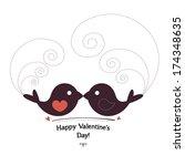 Valentin`s Day card with birds