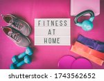 Fitness At Home Sign With Pink...