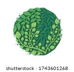 green papercut leaf with... | Shutterstock .eps vector #1743601268