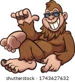 cool cartoon bigfoot resting... | Shutterstock .eps vector #1743627632