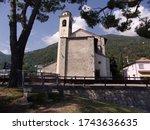 Church of Santa Maria Rezzonico by Lake Como in Italy - stock photo